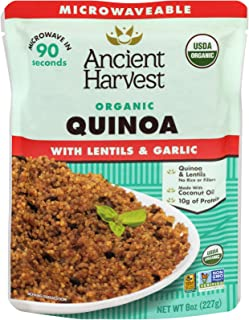 Ancient Harvest Certified Organic Microwavable Quinoa Pouch, Quinoa With Lentils And Garlic, 8 oz (Pack of 12)