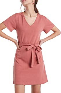 Women's Cap Sleeve V Neck Ribbed Shift Dress with Tie-Front