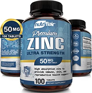 NutriFlair Zinc Gluconate 50mg, 100 Tablets - High Potency Immune System Booster Supplement Pills, Immunity Defense, Power...