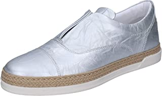 TRIVER FLIGHT Loafer Flats Womens Leather Silver
