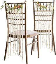 Ling's moment Bohemian Bride and Groom Chair Back, Wedding Chair Hanger, Macrame Wall Hanging Decoration, Boho Decor, Set of 2
