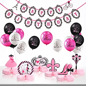 Paris Party Decorations Set, Pink Paris Happy Birthday Banner I Love Paris Honeycombs Centerpieces Eiffel Tower Balloons Decor for Paris Birthday Party Glamour Girl Party Baby Shower Supplies