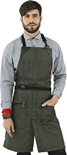 Under NY Sky No-Tie Barber Green Apron – Coated Heavy-Duty Nylon, Water and Chemical Resistant, Zipped Pockets, Split-Leg – Adjustable for Men, Women – Pro Hair Stylist, Colorist, Artist, Bartender