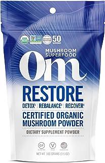Om Organic Mushroom Superfood Powder, Restore: Detox Recovery (50 Servings), Cordyceps & Reishi, Immune Support Supplement...