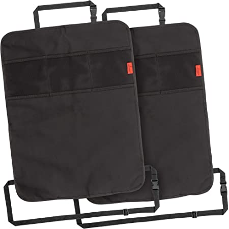 Lusso Gear Heavy Duty Kick Mats (2 Pk) - Back Seat Protector, Sag Proof, Waterproof, Car Back Seat Cover for Kids Who Make Big Messes, 3 Reinforced Storage Pockets, Premium Oxford Fabric