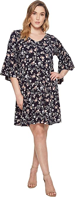 Karen Kane Plus Plus Size V-Neck Bell Sleeve Dress