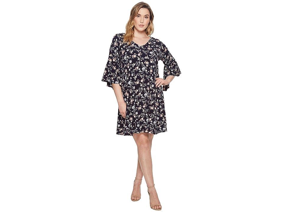Karen Kane Plus Plus Size V-Neck Bell Sleeve Dress (Print) Women
