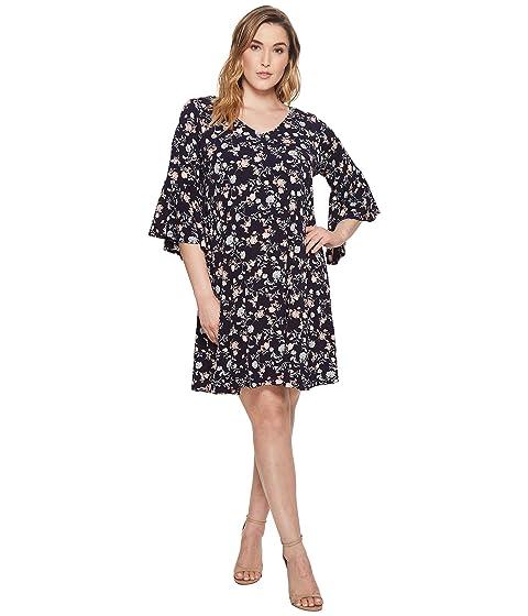 KAREN KANE PLUS Plus Size V-Neck Bell Sleeve Dress, Print