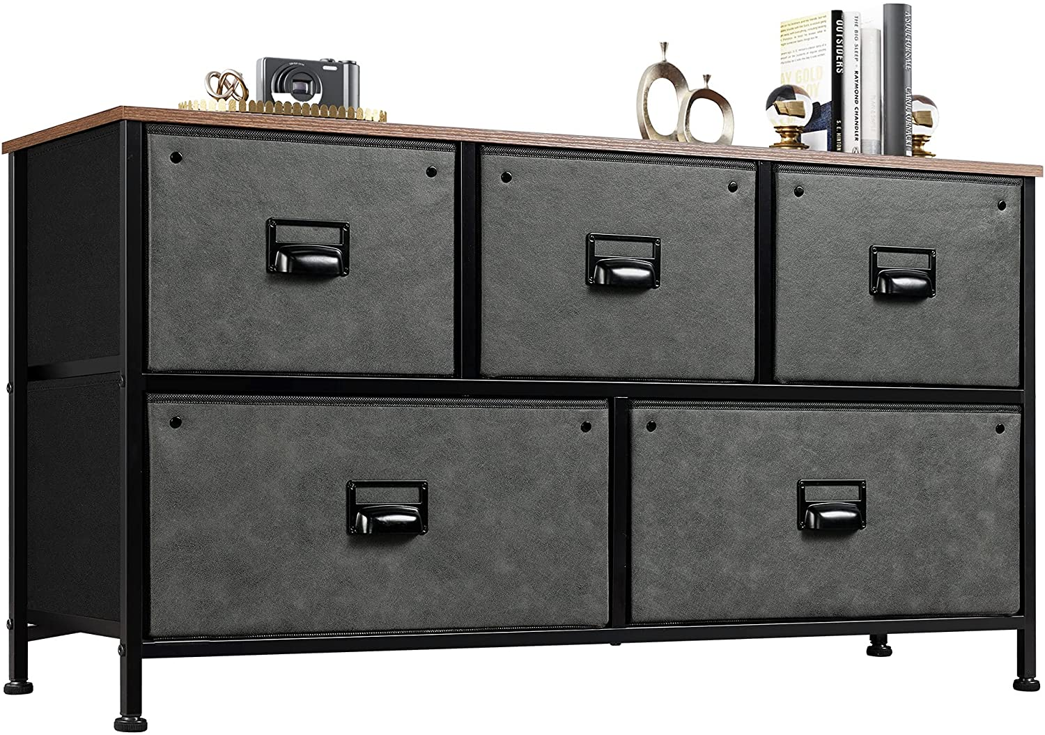 WLIVE Dresser with 5 Drawers, Fabric Storage Tower, Industrial Dresser for Bedroom, Hallway, Entryway, Closets, Sturdy Steel Frame, Wood Top, Easy Pull Handle, Black