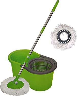 York Super Absorbent Microfiber 360 Degree Rotating Spin Mop With Plastic Bucket Assorted Colours (072800)