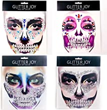 Leoars Full Face Gems Jewels, Halloween Temporary Face Tattoos, Rhinestone Face Jewels Tattoo Stickers, Crystals Body Gems Stick on Face for Festival Rave Party Outfit, 4-Pack