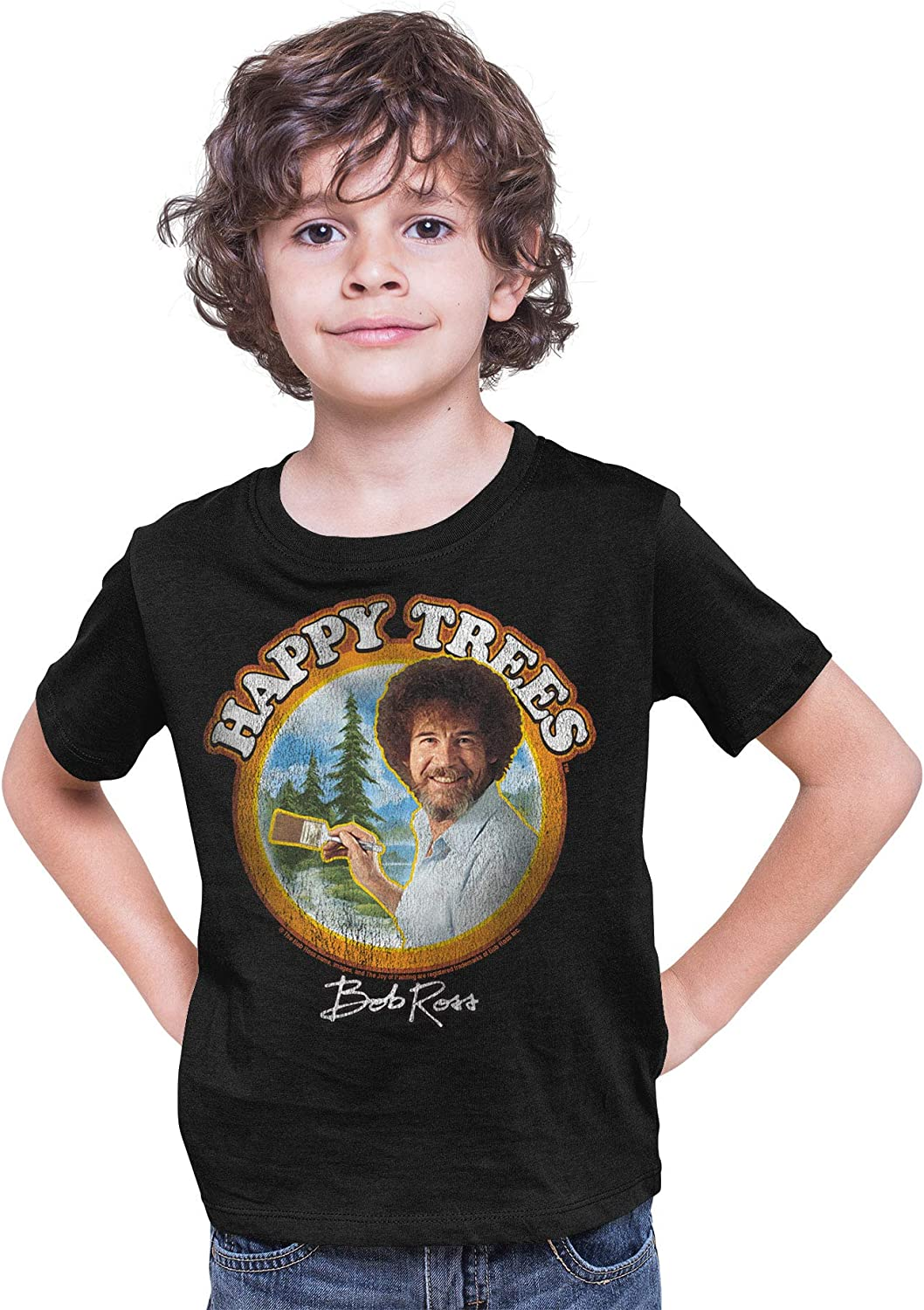 Popular brand Teelocity Youth Bob Ross T-Shirt 2021 spring and summer new Happy Trees