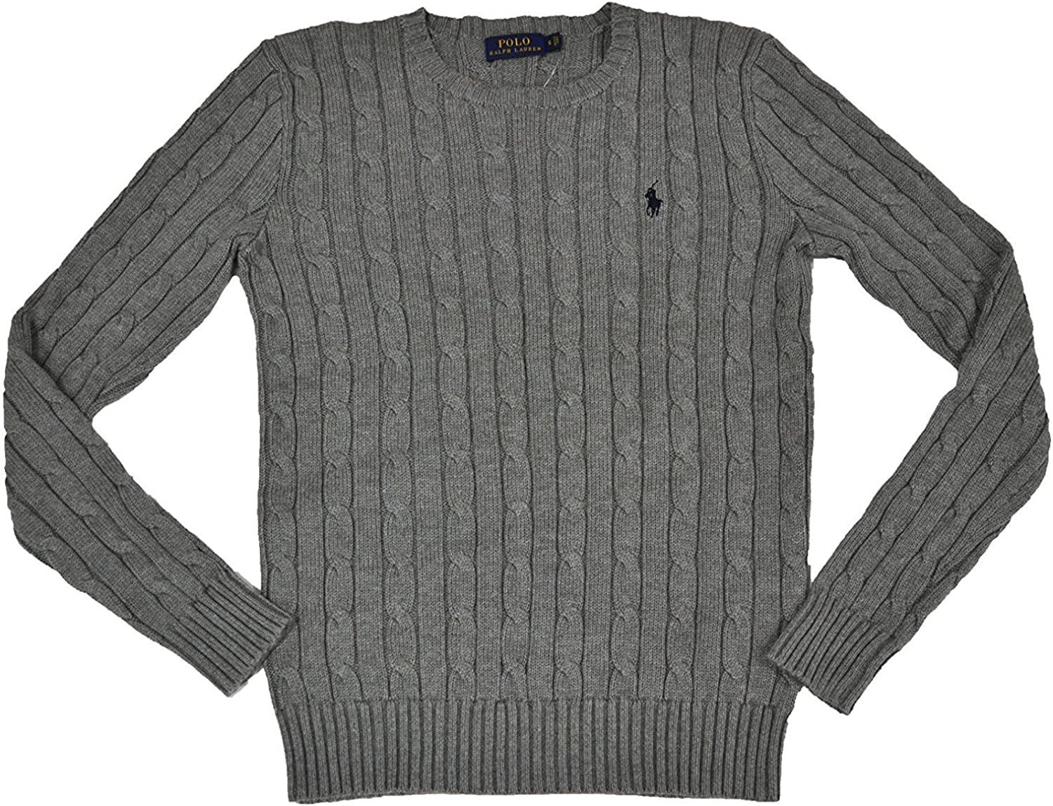 Ralph Lauren Women's Cable Knit Crew Neck Sweater (Fawn Grey, Small)