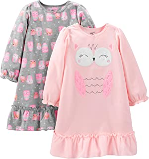 Image of #1 Best Selling Girls Nightgowns: 2 Pack Carter's Fleece Owl Nightgown for Girls and Toddlers