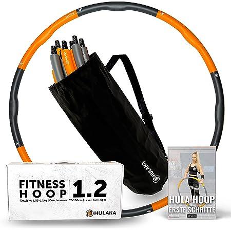 HULAKA 1.2 Fitness Hula Hoop Reifen   87-100cm   1,05-1,2kg  für Einsteiger & Fortgeschrittene mit Tasche & Trainingsanleitung für Training von Bauch, Rumpf, Armen, Beinen, Po & Bindegewebe