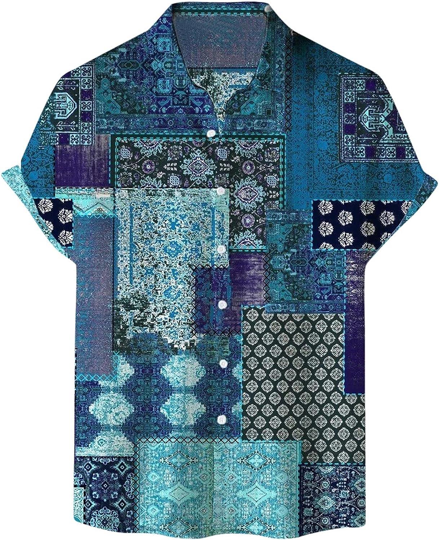 Mens Summer Shirts Short Sleeve Stand-Up Collar Print Tees Lightweight Breatheable Plaid Top Hawaiian Beach Shirt
