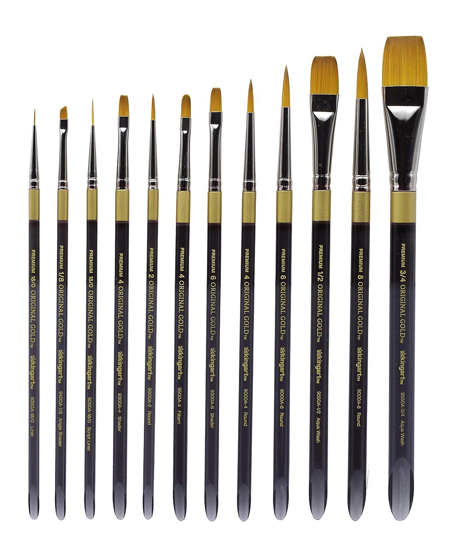 KINGART 1000D Original Gold-Golden TAKLON Acrylic Handle Set of 12 Paint Brush Set, Assorted, Black, Silver