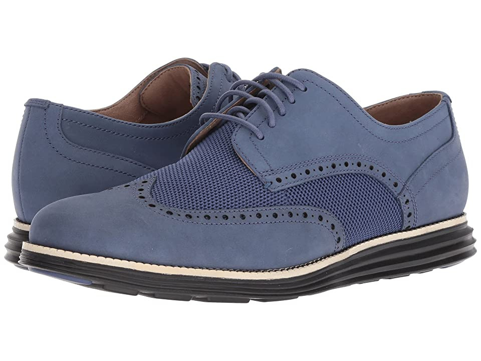 Cole Haan Original Grand Wingtip Oxford (Washed Indigo Nubuck/Sandshell/Black) Men