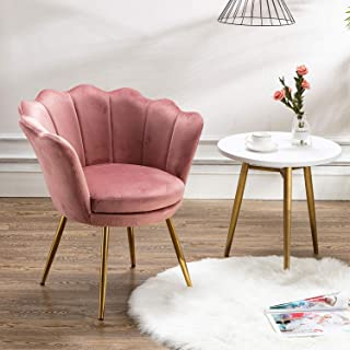 Living Room Chair, Mid Century Modern Retro Leisure Velvet Accent Chair with Golden Metal Legs, Vanity Chair for Bedroom Dresser, Upholstered Guest Chair(Antique Pink)