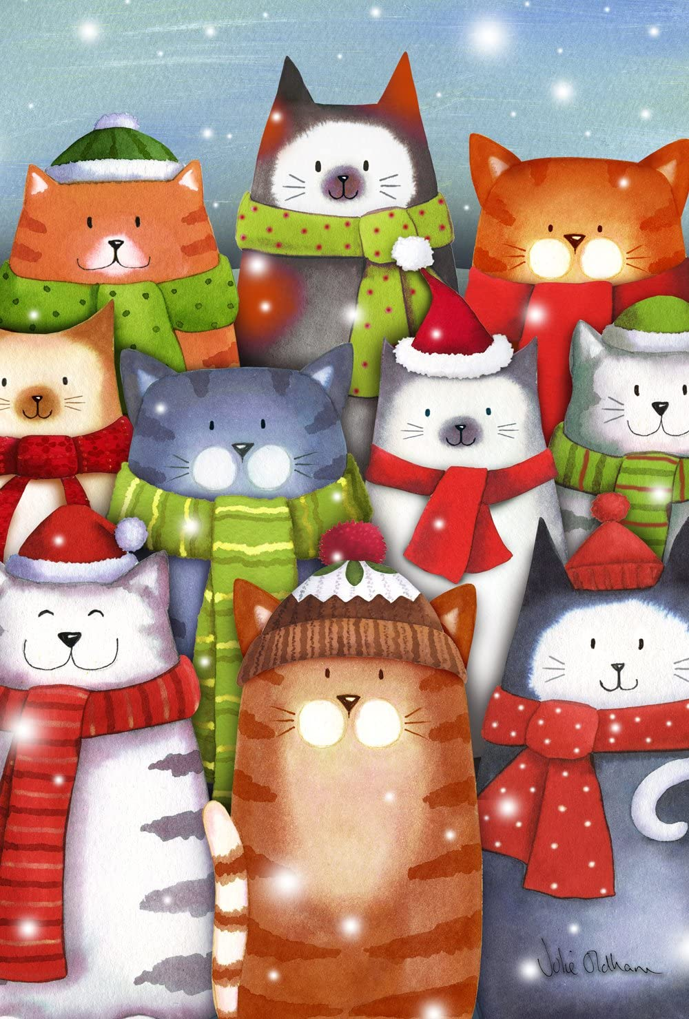 Toland Home Garden Cat Caroling 12.5 x 18 Inch Decorative Colorf