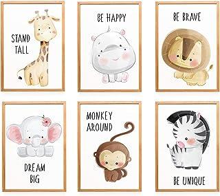 Wietre® Lot de 6 images animaux d'Afrique pour chambre d'enfant ou de bébé - Décoration pour chambre de bébé - Image de ga...