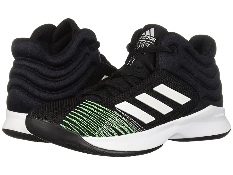 adidas Kids Pro Spark Basketball Wide (Little Kid/Big Kid) (Black/White/Lime) Kid