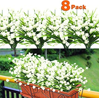 8PCS Artificial Flowers Outdoor UV Resistant Plants, 8 Branches Faux Plastic Corn-flower Greenery Shrubs Plants Indoor Outside Hanging Planter Kitchen Home Wedding Office Garden Deco