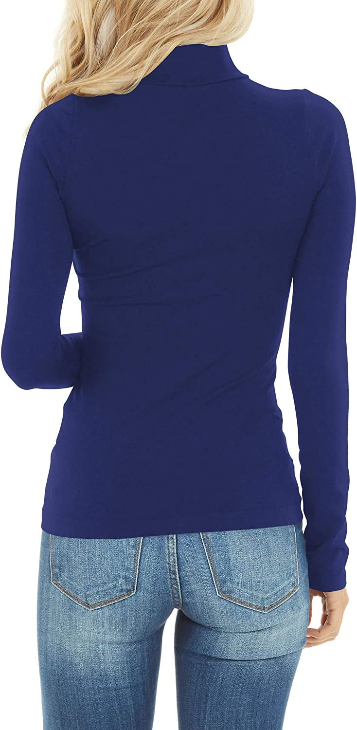 Womens Long Sleeve Turtleneck Tops Soft Lightweight Pullover Basic Layer Tee Top