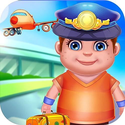 Aeroporto Aviões Jogo - Verifique o passaporte, a bagagem, o avião e seja o piloto com este jogo livre do divertimento!