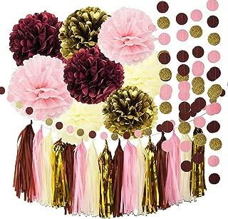 Monkey Home 26pcs Tissue Paper Pom Poms Tassel Garlands,Burgundy Pink Glitter Gold,Circle Dot Paper Garland for Bridal Shower Decorations Birthday Wedding Party Decor
