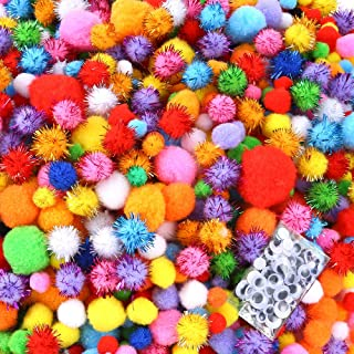 Caydo 2000 Pieces Assorted Sizes Multicolor Pompoms Glitter Pom Poms with 4 Sizes Wiggle Eyes for Halloween Hobby DIY Art ...