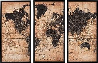 Ashley Furniture Signature Design - Pollyanna World Map Wall Art - Set of Three - Casual - Tan/Black