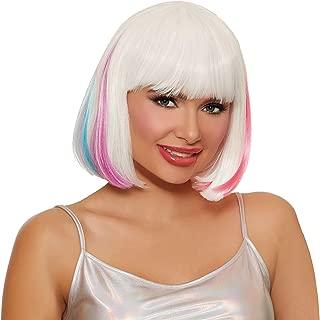 Dreamgirl Women's Mid-Length Hidden White/Neon Rainbow Bob Wig Adult Costume