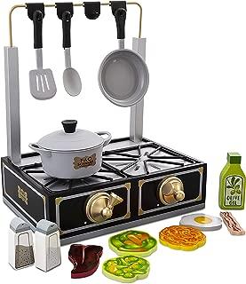 FAO Schwarz Tabletop Stove Playset, Includes Pot & Pan Props, Spatula & Spoon Prop, 6 Assorted Foodpiece, Solid Wood