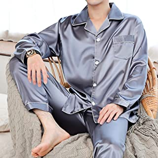 QinWenYan Pyjamas pour Hommes Pyjamas à Manches Longues à Manches Longues pour Hommes Vêtement de Nuit (Couleur : Gris, Si...