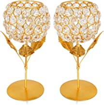 Obbi Crystal Rose Brass Candle Holder for Decoration - Set of 2