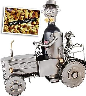 Brubaker - Soporte para botellas de vino diseño de tractor con perro y conductor