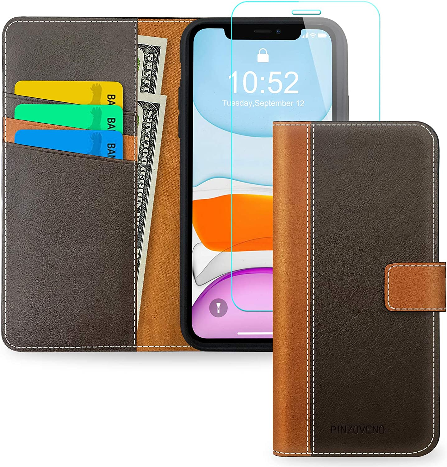 Pinzoveno iPhone 11 Wallet Case, Flip Phone Cover with Card Holder and Screen Protector Kickstand PU Leather Folio Funda Cases for iPhone 11 - Brown