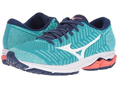 Mizuno Wave Rider 22 Knit (Peacock Blue/Fiery Coral) Girls Shoes