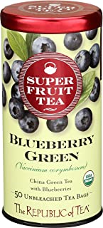 The Republic of Tea Organic Blueberry Green Superfruit Tea, 50 Tea Bag Tin
