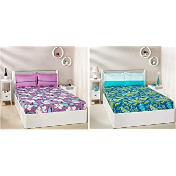Amazon Brand - Solimo Floral Foliage 144 TC 100% Cotton Double Bedsheet with 2 Pillow Covers, Teal & Floral Swirls 144 TC 100% Cotton Double Bedsheet with 2 Pillow Covers, Purple Combo