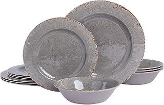 Gibson Home Mauna Round Heavyweight Melamine Dinnerware Set, Service for 4 (12pcs), Grey Rustic
