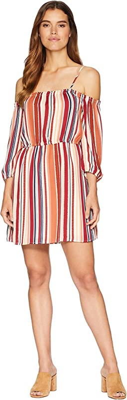 "Eternal Sunshine ""Sunset Stripe"" Printed Crepe de Chine Off the Shoulder Dress"