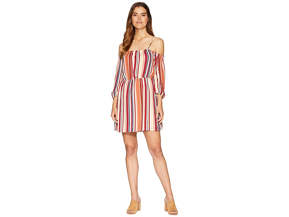 Jack by BB Dakota Eternal Sunshine Sunset Stripe Printed Crepe de Chine Off the Shoulder Dress (Ivory) Women