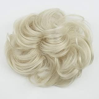PRETTYSHOP Hairpiece Hair Rubber Scrunchie Scrunchy Updos Wavy Messy Bun Platinum Blonde G16A