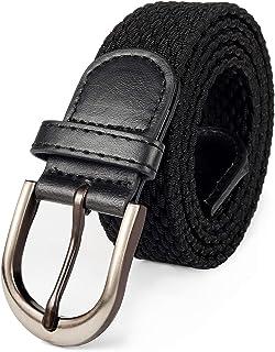 Mile High Life Cinturón elástico trenzado elástico con pasador ovalado Hebilla completa de cuero negro con hombre/mujer / ...