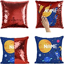 Personalized Space Rocket Mermaid Sequin Pillow for Boys and Girls, Add Your Name - Funny Birthday Gift Home Décor Pillowcase [Pillow Insert Included]