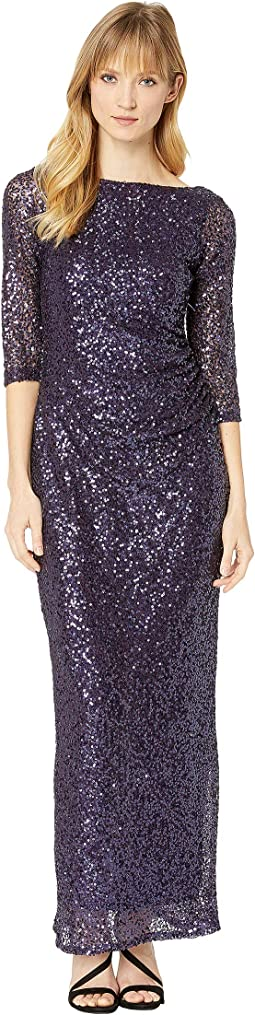 3/4 Sleeve Sequined Gown w/ Cowl Back
