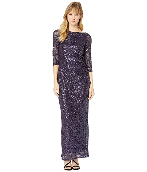 MARINA 3/4 Sleeve Sequined Gown W/ Cowl Back, Plum
