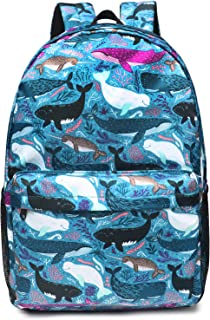 """Oflamn School Backpack for Girls Cute Middle School Bookbag College Bags Women Daypack (Fits 15.6"""" Laptops) (Whales)"""